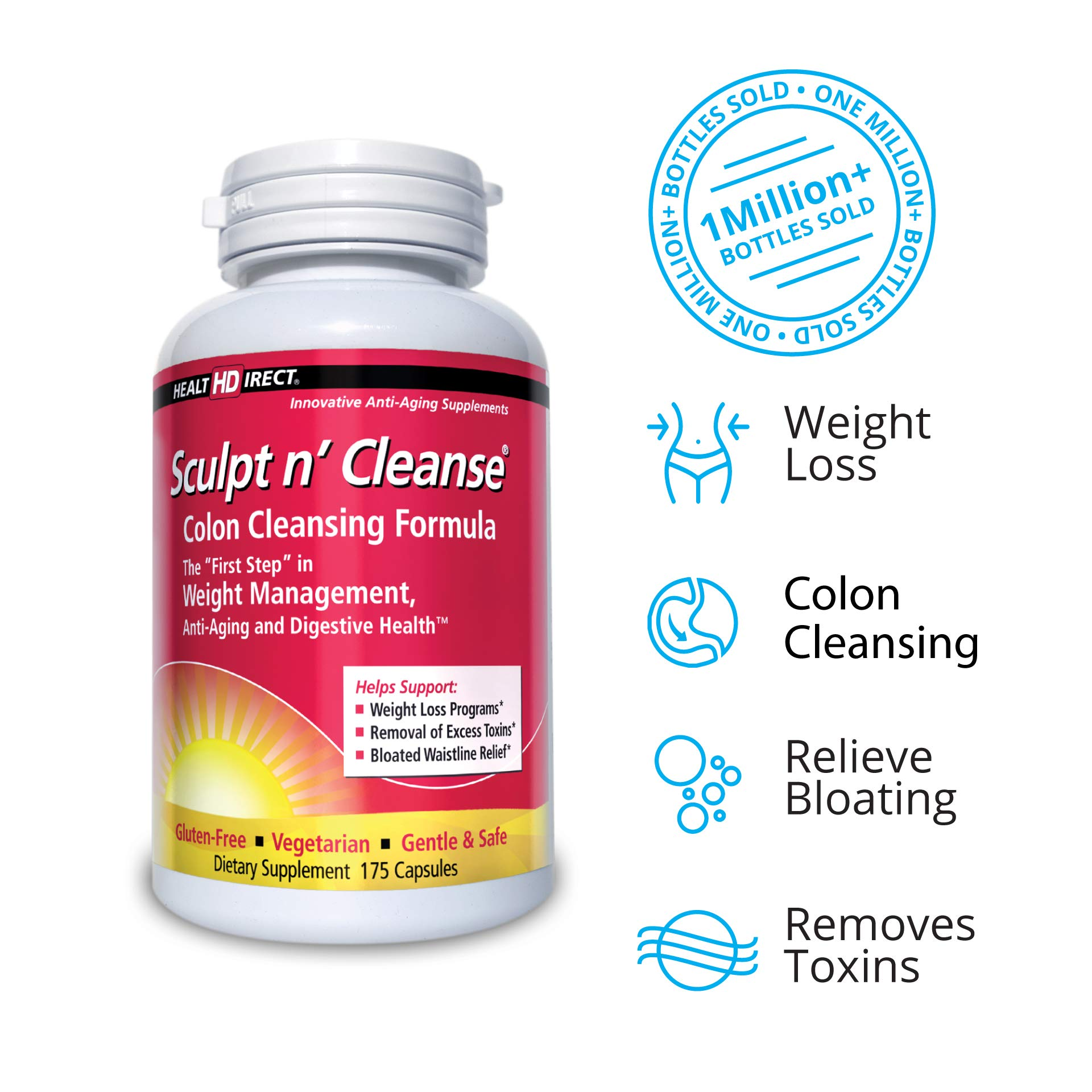 Sculpt n' Cleanse: Colon Cleanse, Detox, Weight Loss & Increased Energy Supplement | Vegan | Non GMO by Health Direct