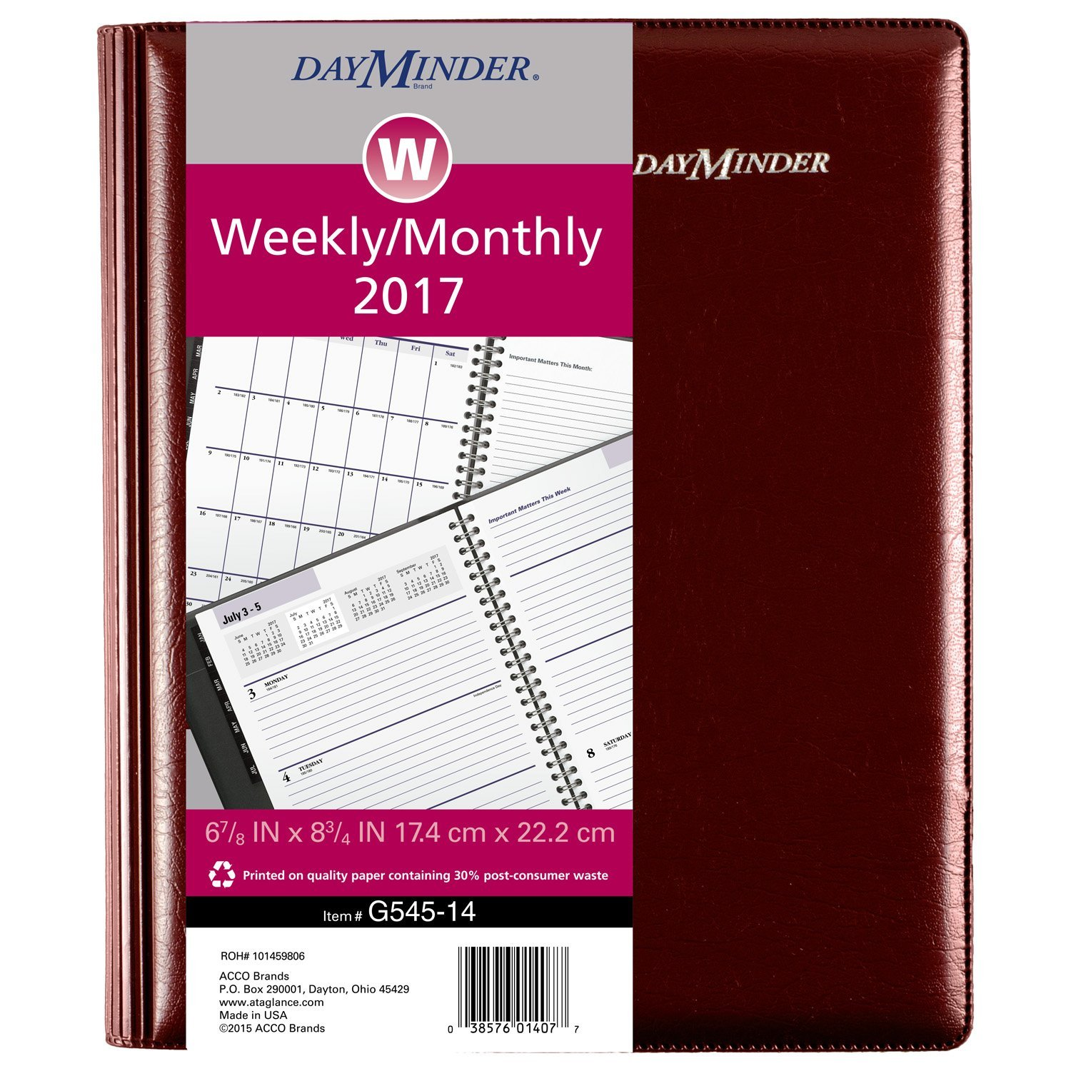 Amazon.com : DayMinder Weekly / Monthly Planner 2017, Executive, 6 ...