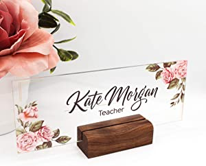 Personalized Desk Name Plate Plaque | Unique Gift | Wood Holder | Office Decor | Teacher Name Plate | Sign | Artswave