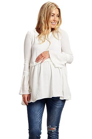 e65ec1ec45f PinkBlush Maternity Ribbed Peplum Long Sleeve Top at Amazon Women s ...
