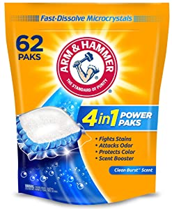 Arm & Hammer 4in1 Laundry Detergent Power Paks, 62 Count (Packaging May Vary)