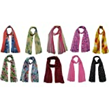 FusFus Women's Printed Poly Cotton Scarf and Stoles Combo (Multicolour)