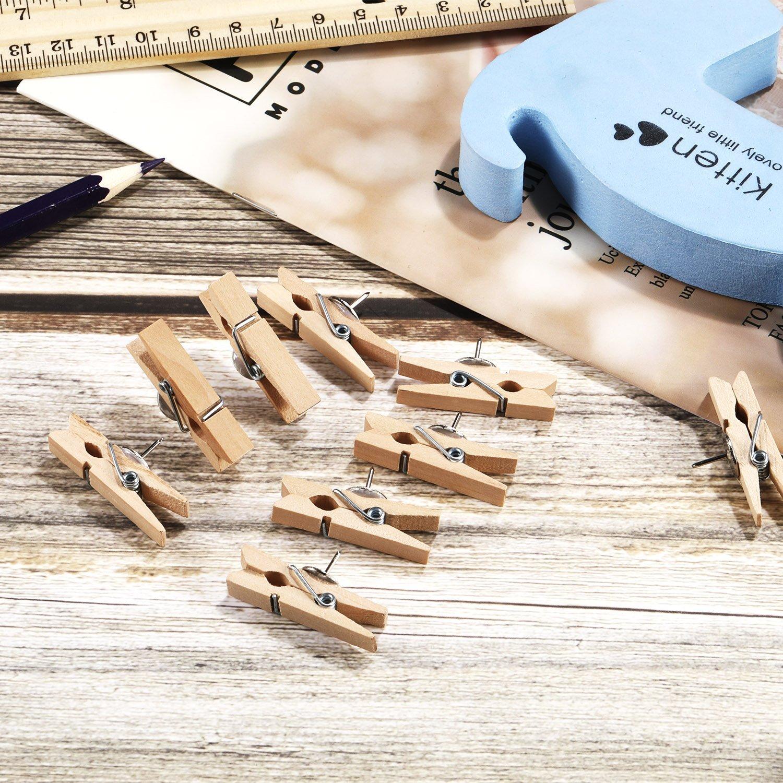 Puntine con Clip in Legno Puntine da Disegno per Tavole da Sughero Opere d/'Arte Note Foto e Progetti Artigianali 20 Pezzi