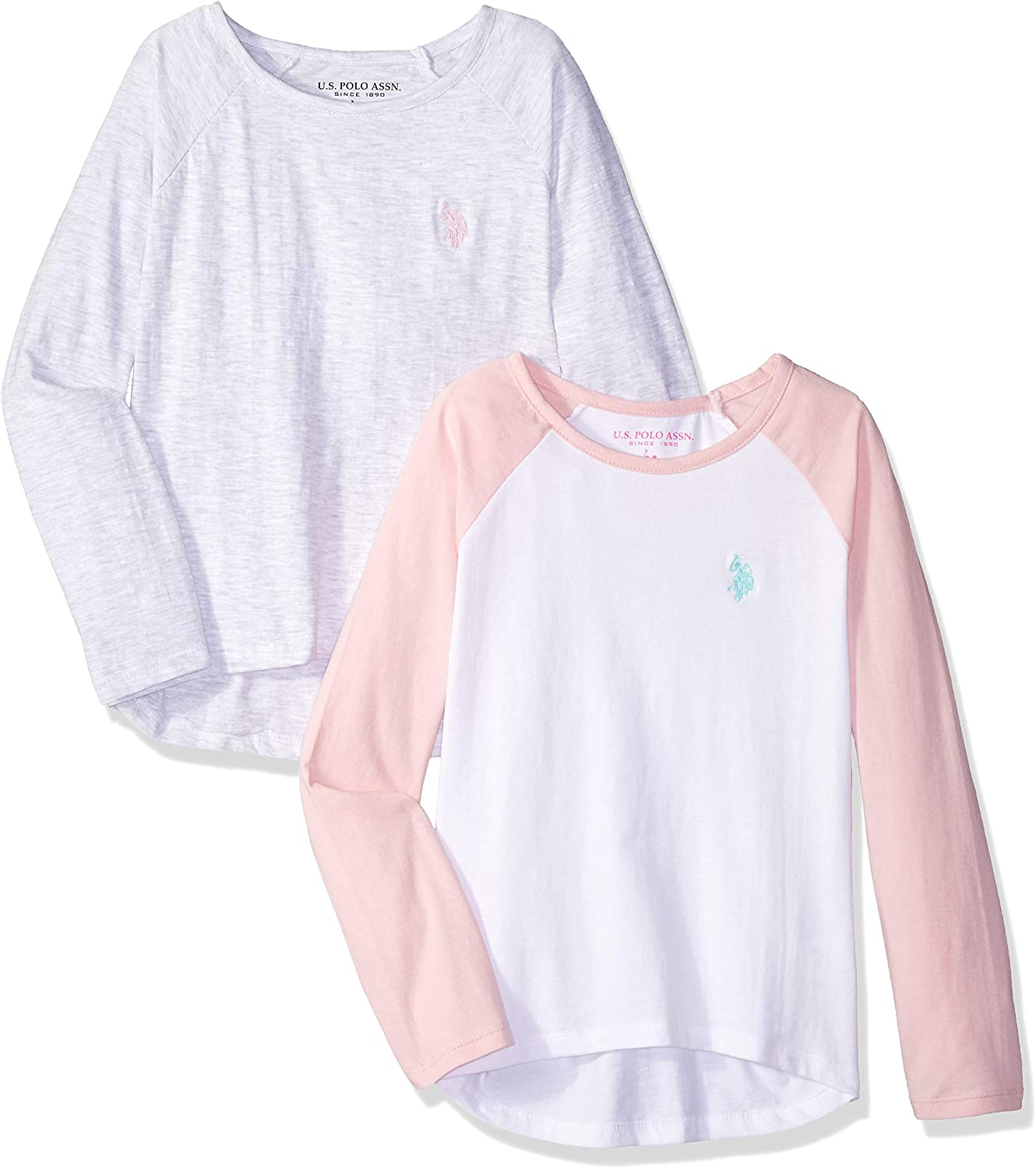 U.S Polo Assn Toddler Girls S//S Heather Charcoal /& Pink Logo Polo Size 2T 3T 4T