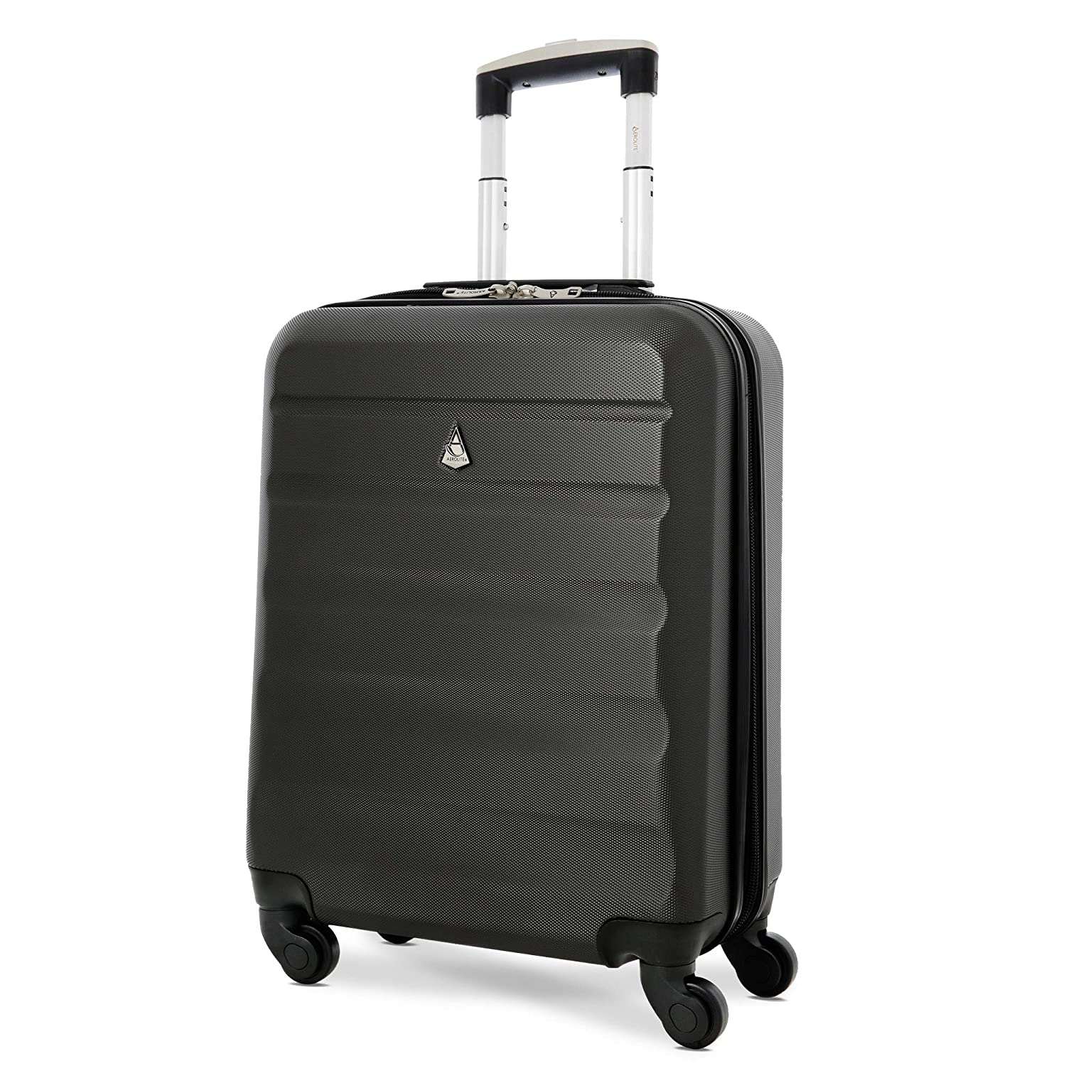 Aerolite 55x40x20 Ryanair Maximum Allowance 40L Lightweight Hard Shell Carry On Hand Cabin Luggage Suitcase with 4 Wheels - Also Approved for easyJet, British Airways, Jet2 and More (Charcoal)