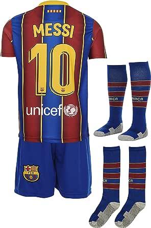 Barca Messi 2020/2021 thuisshirt en shorts met sokken, kinderen en jongeren, maat