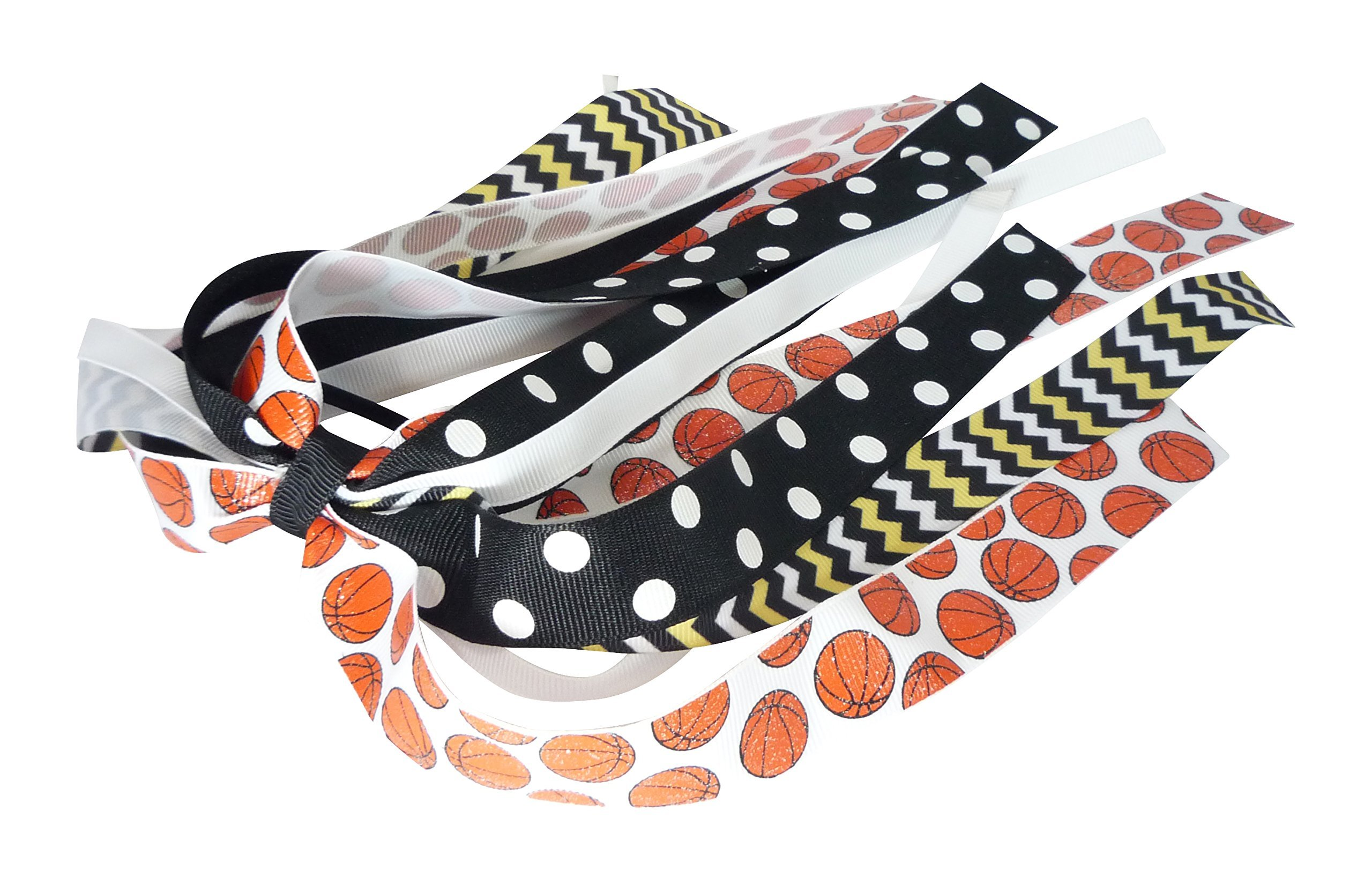 Basketball Hair Bow with Team Ribbon Colors, Ponytail Band