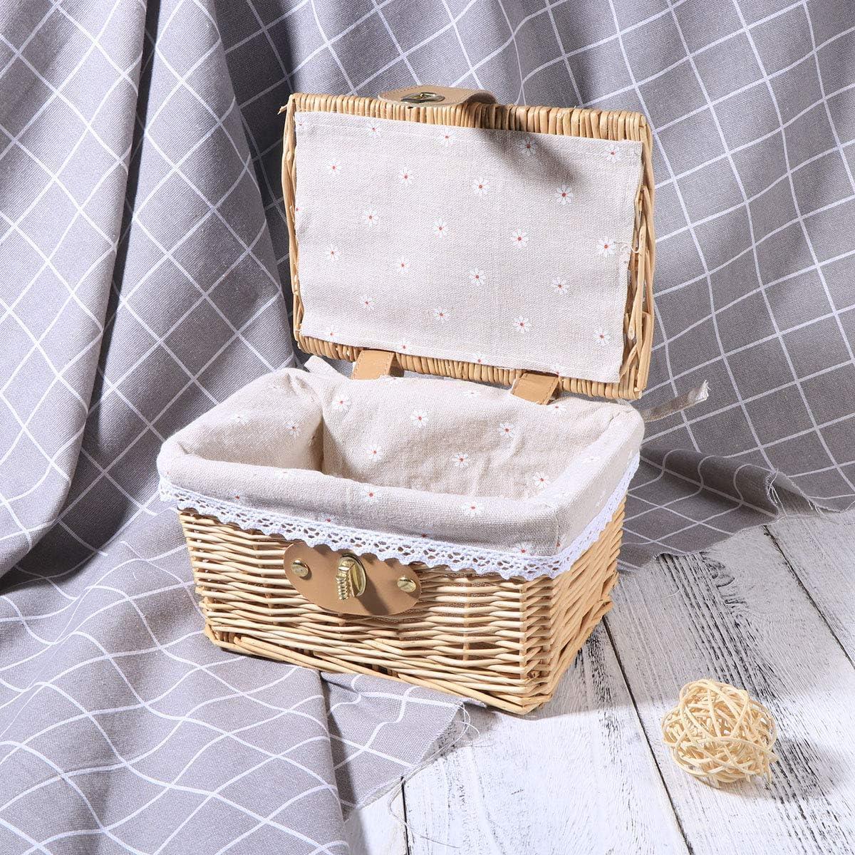 Blumen Muster Yardwe Weidenkorb mit Deckel Verschluss Wicker Picknickk/örbe Ablagekorb Aufbewahrungskorb