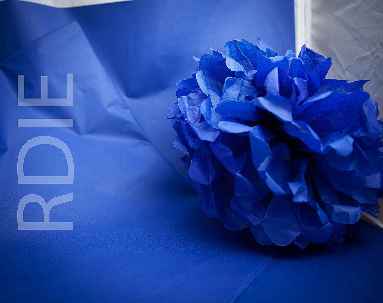 24 feuilles de papier de soie Bleu roy, 50x75cm, 18 grs Rdie