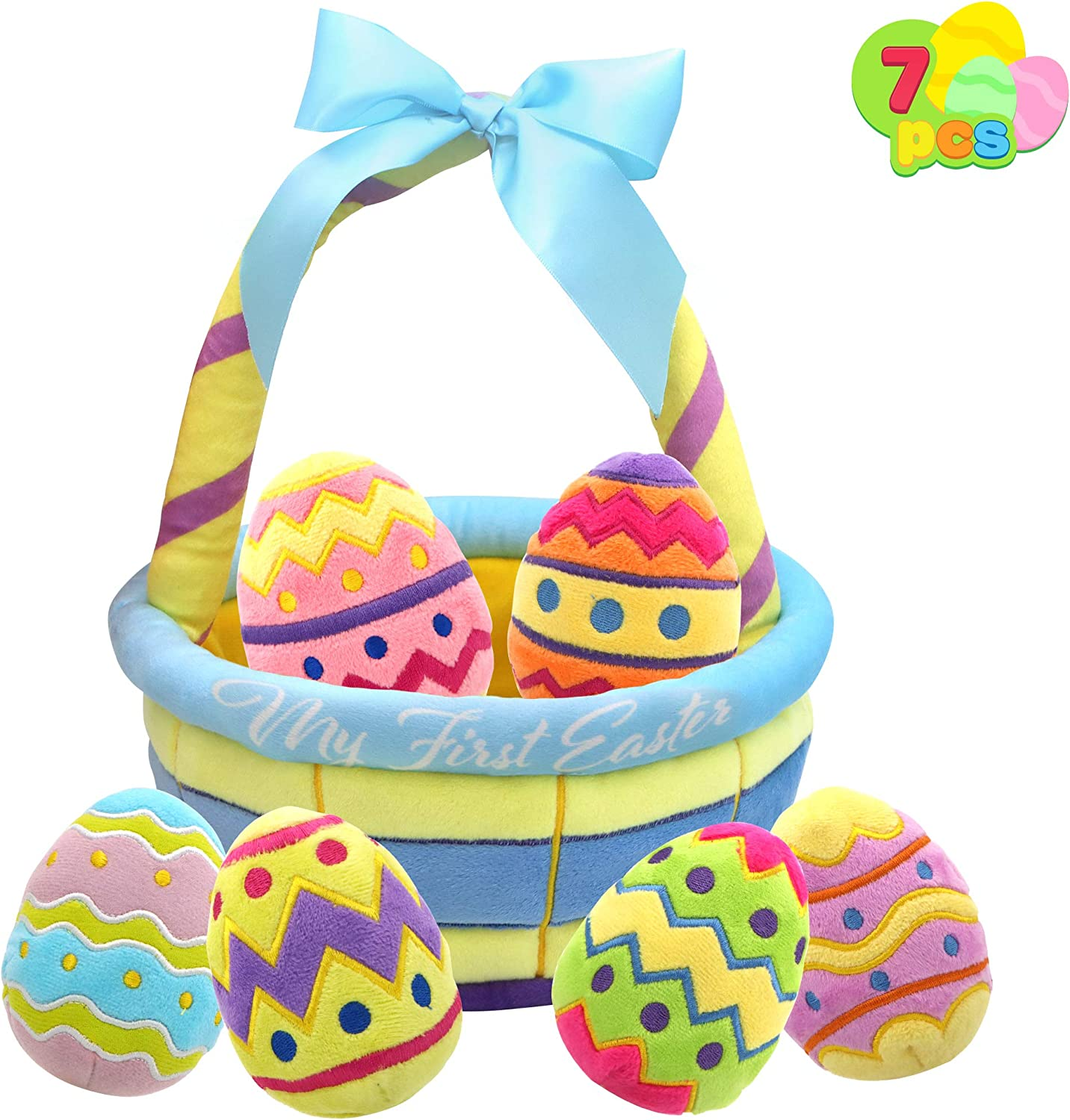 JOYIN 7 Pcs My First Easter Eggs Basket Baby plushies playset Basket Stuffers Toys for Easter Party Favors, Plush Easter Basket for Baby, Toddler & Kids of All Ages