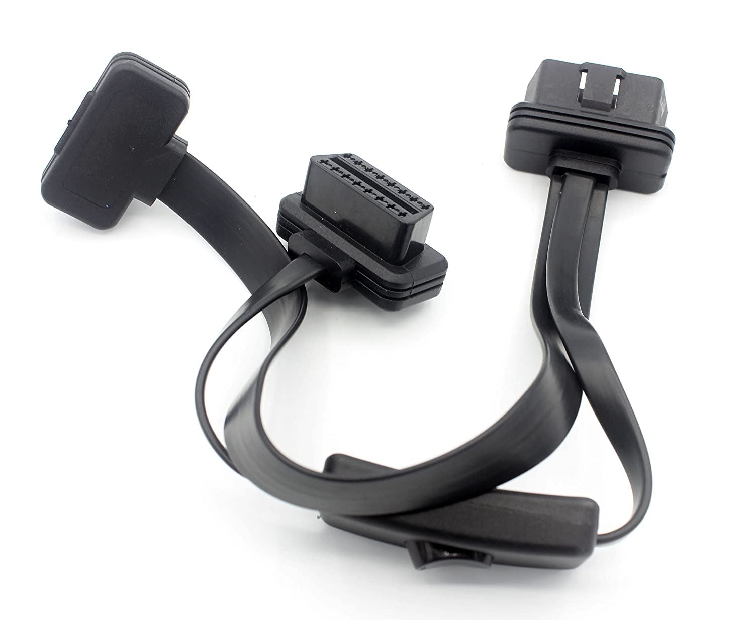 LoongGate OBD-II Cable de extensi/ón OBD2 Ultra Low Profile 0.6 Metros Flat Ribbon Cable 8-pin Pass-through para Bluetooth Wifi USB ECU Readers OBDII Code Scanners