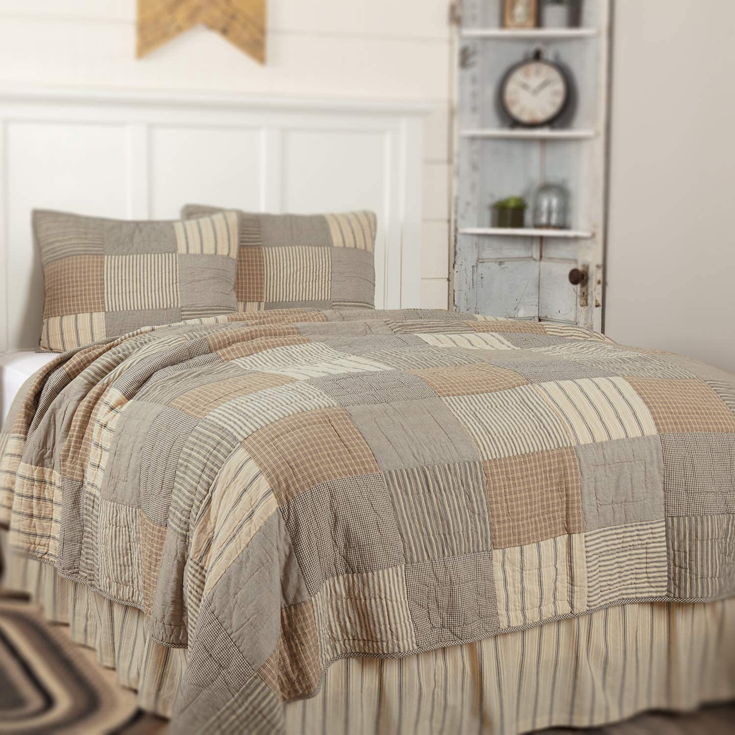 COUNTRY PRIMITIVE FARMHOUSE SAWYER MILL RED STRIPE QUILT COLLECTION VHC BRANDS