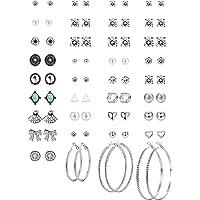 Thunaraz 36 Pairs Multiple Round Cute CZ Stud Earrings Vintage Bohemian Earrings for Women Girls Hoop Earring Set