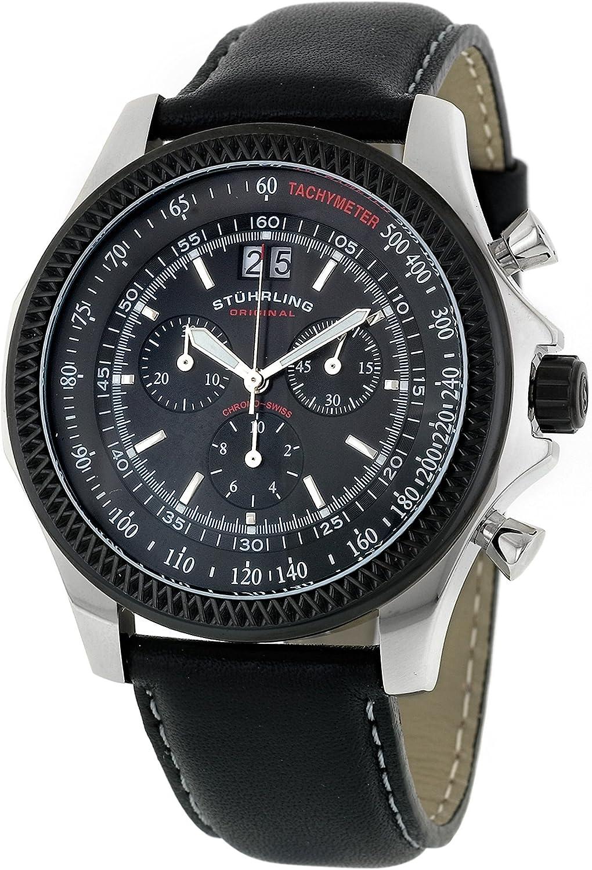 Stuhrling Original Men s 176L.332B51 Sportsman Targa Swiss Quartz Chronograph Black PVD Watch