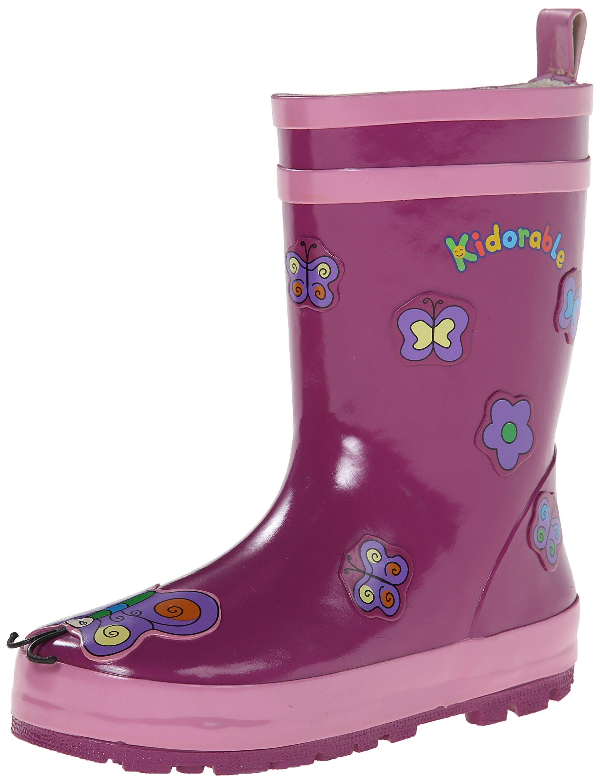 Kidorable Toddler/Little Kid Butterfly Rain Boot Purple 8 M US Toddler