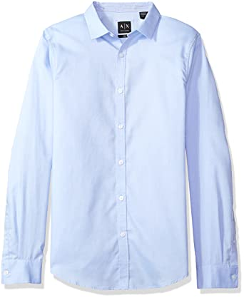 d594a69b A|X Armani Exchange Men's Chambray Solid Button-Up Woven Slim Fit Shirt