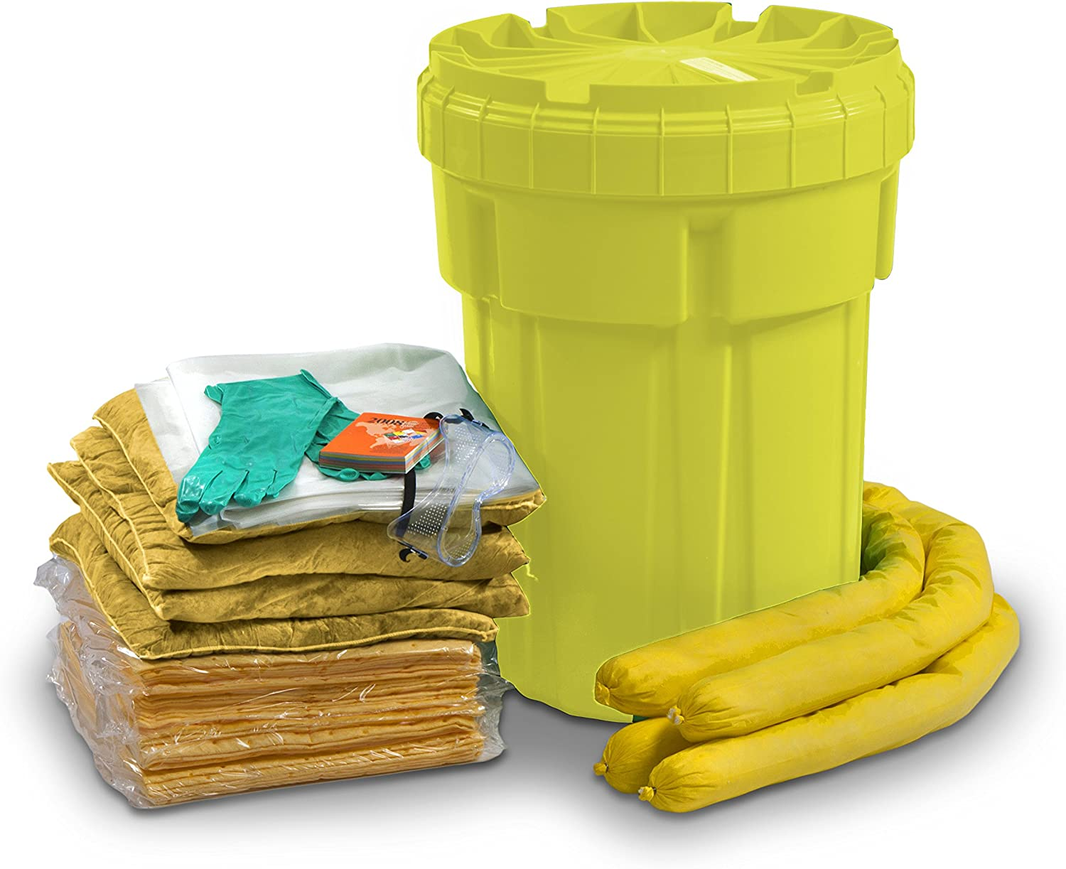 ESP SK-H30 56 Piece 30 Gallons Hazmat Absorbent Ecofriendly Spill Kit, 25 Gallons Absorbency, Yellow: Industrial & Scientific