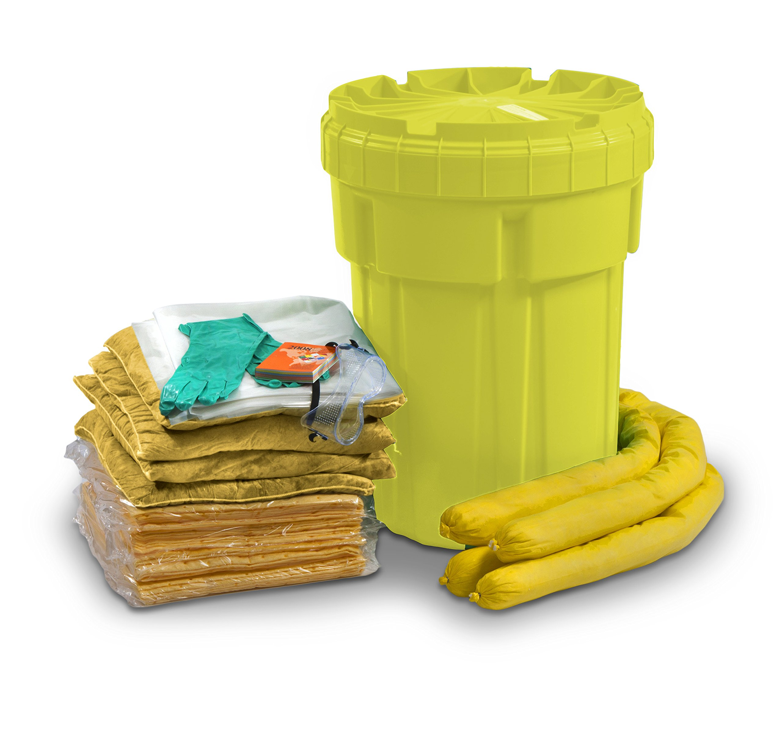 ESP SK-H30 56 Piece 30 Gallons Hazmat Absorbent Ecofriendly Spill Kit, 25 Gallons Absorbency, Yellow