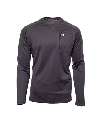 6c4037cc American Outdoorsman The Long Sleeve Crew Shirt with Zip Chest Pocket (XX  Large, Raven