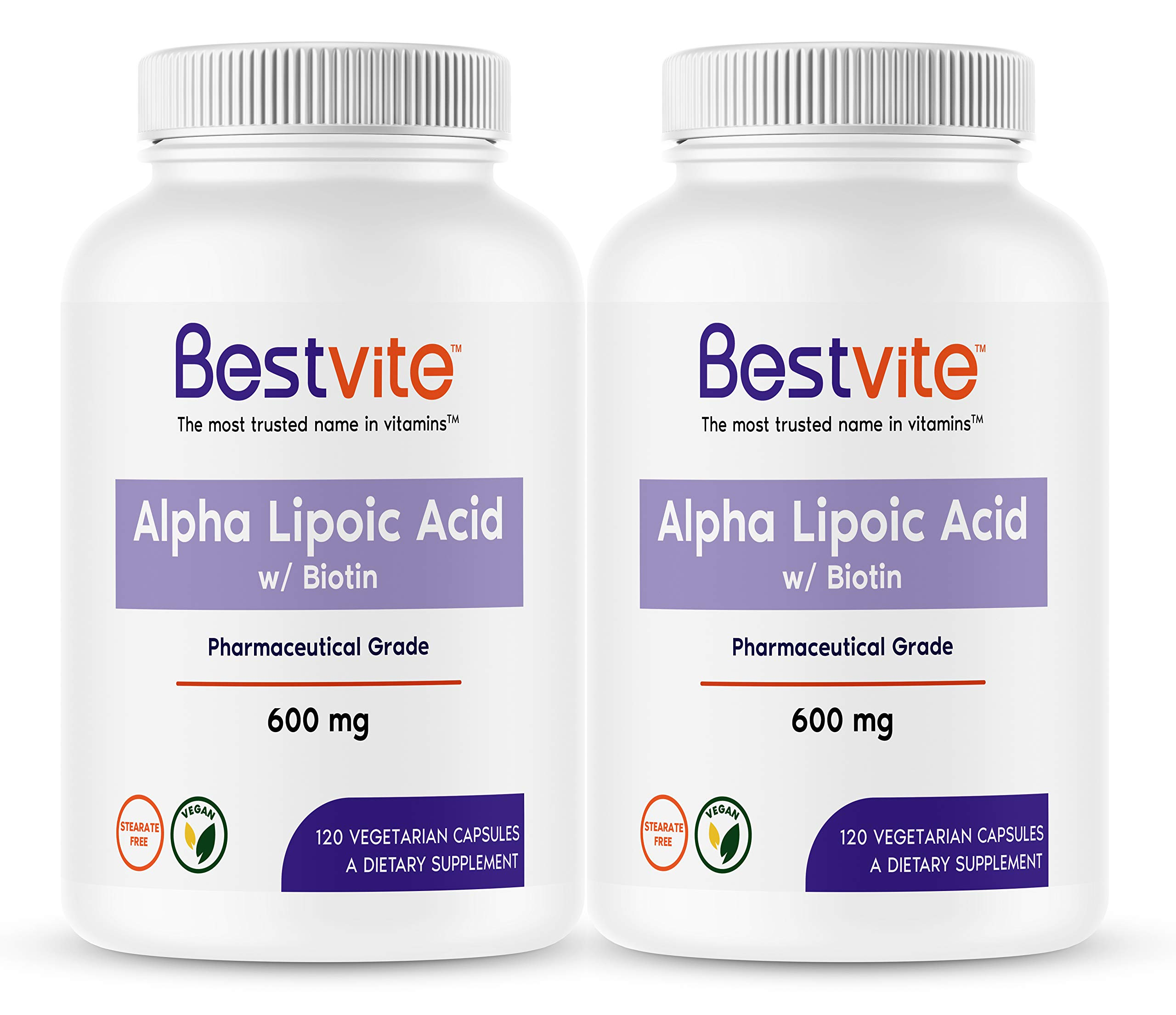 Alpha Lipoic Acid 600mg (per Capsule) with Biotin to Enhance Absorption (240 Vegetarian Capsules) (2-Pack) No Fillers - No Stearates - No Flow Agents