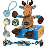 EASTBLUE Reindeer Dog Toys Set : Interactive Squeaky Plush Dog Toy and Tough Puppy Rope Chew Toys Gift Set for Small | Medium