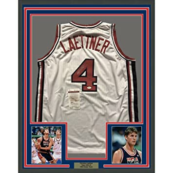 6af4aba6462 Image Unavailable. Image not available for. Color  Framed Autographed Signed  Christian Laettner 33x42 Team USA United States White Basketball Jersey ...
