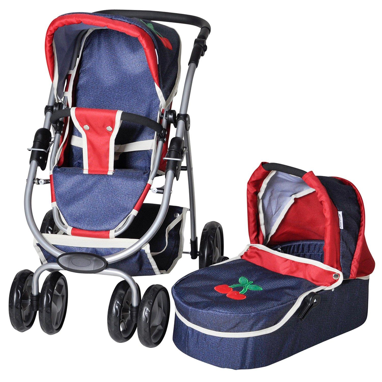 Knorrtoys 90793 - Passeggino per bambole con trasportino incluso, colore  Jeans Rosso