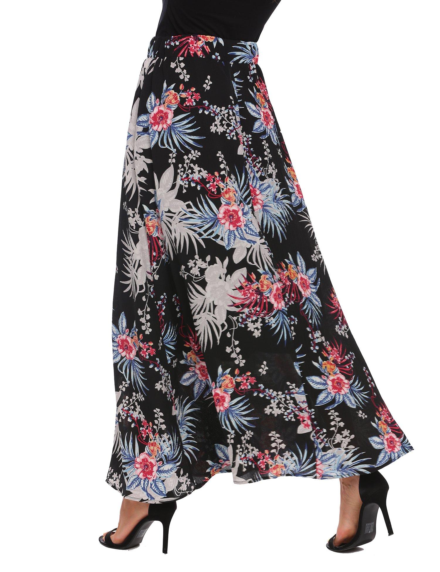 Zeagoo Women African Boho Floral Print High Waist Beach Party Bohemia Long Maxi Skirt,Black,X-Large