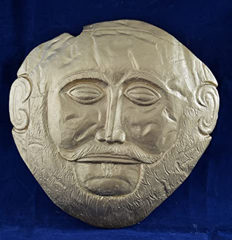 Amazon.com: Mask of Agamemnon relief Ancient Greek sculpture gold painted relief sculpture: Everything Else