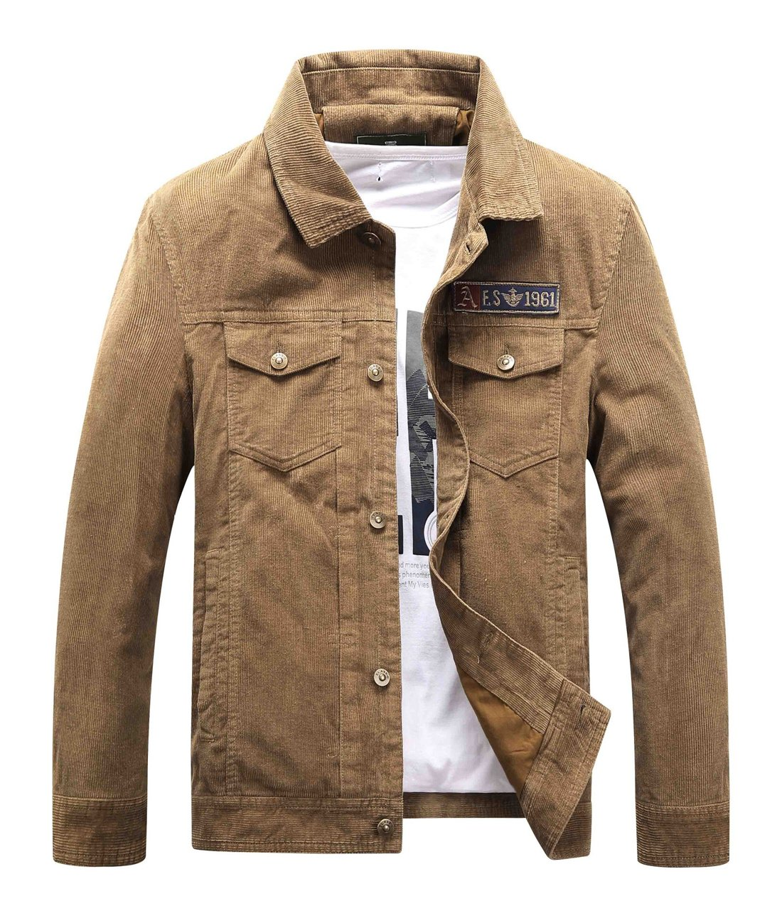 Chartou Men's Vintage Button-Front Slim Fit Corduroy Denim Jacket (Large, Khaki) by Chartou