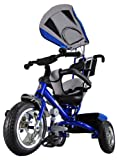 Kiddo Blue Smart New Design 4-in-1 Childrens Tricycle Kids Trike 3 Wheel Bike Parent Toddler Trike New - Blue
