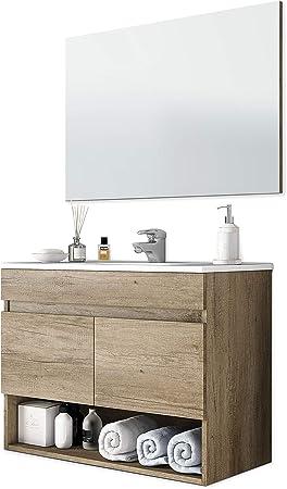 ARKITMOBEL 305110H - Mueble de baño Cotton con 2 Puertas y Espejo, modulo Lavabo Color Nordik, Medidas: 80 x 57,5 x 45 cm de Fondo