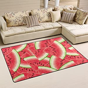 Yochoice Non-slip Area Rugs Home Decor, Stylish Summer Red Watermelon Fruit Floor Mat Living Room Bedroom Carpets Doormats 31 x 20 inches