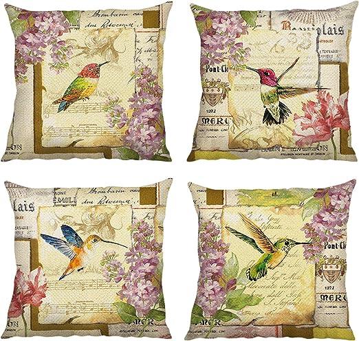 Bonhause Juego de 4 Funda de Cojín 45x45cm Vintage Pájaro Flores Algodón Lino Fundas de Almohada para Cojines Decorativos para Sofá Cama Coche Hogar: Amazon.es: Hogar