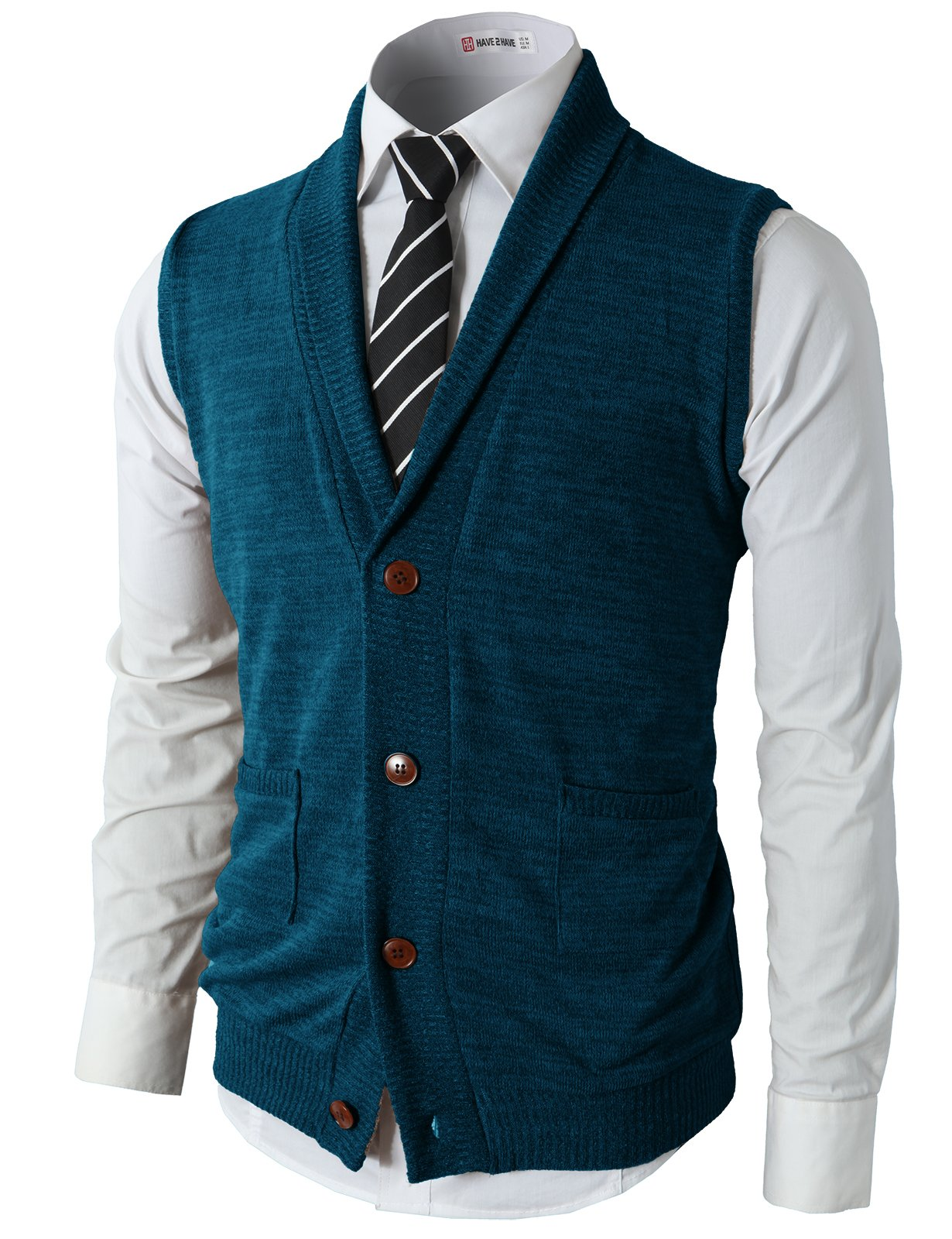 H2H Mens Casual Basic Designed Shawl Collar Knitted Slim Fit Vest Green US L/Asia XL (CMOV034)
