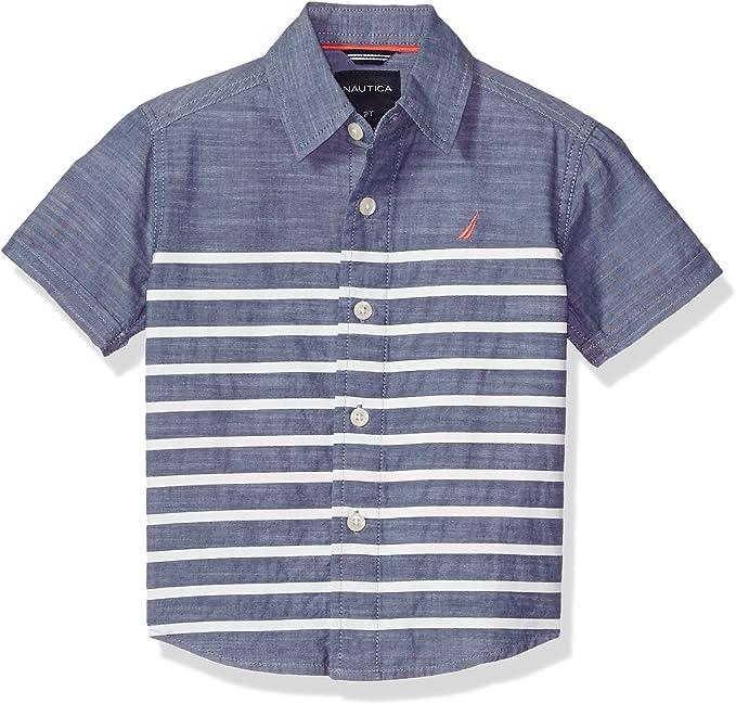 Nautica Childrens Apparel Big Boys Short Sleeve Stripe Polo W// Pocket