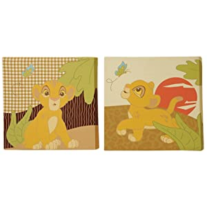 Disney Lion King Simba's Wild Adventure 2 Piece Canvas Wall Decor, Brown, Orange, Sage, Ivory