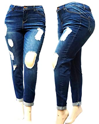 5f88d155f94 Sneak Peek Dollhouse Plus Size Blue Denim Jeans Ripped Distressed Pants (14
