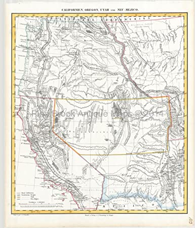 Western United States Antique Map Flemming 1850 Authentic Western