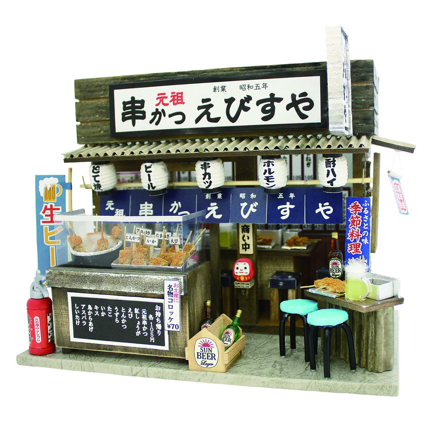 Deep-fried breaded meat or vegetables on skewers shop 8852 Billy handmade dollhouse Kit Naniwa Series by Billy 55