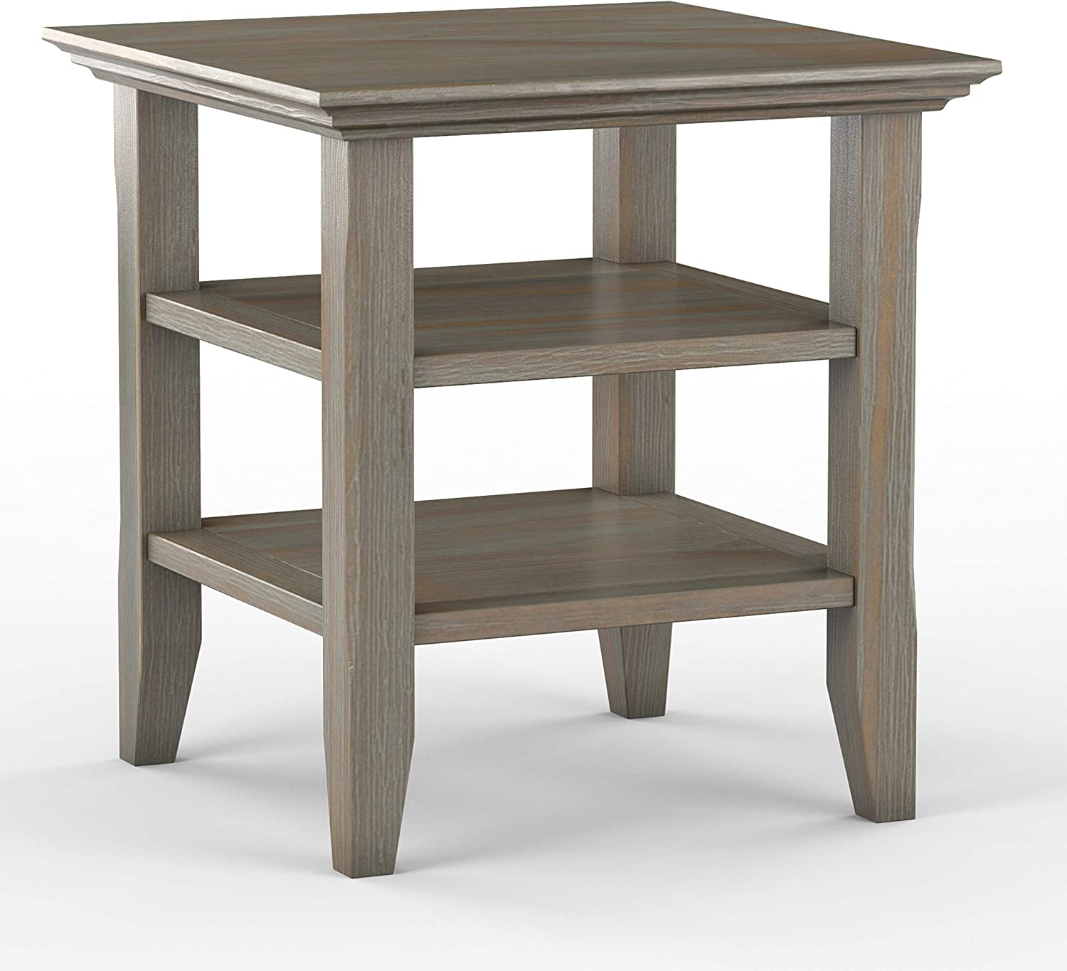 SIMPLIHOME Acadian SOLID WOOD 19 inch wide Square Rustic Contemporary End Side Table in Distressed Grey with Storage, 2 Shelves, for the Living Room and Bedroom