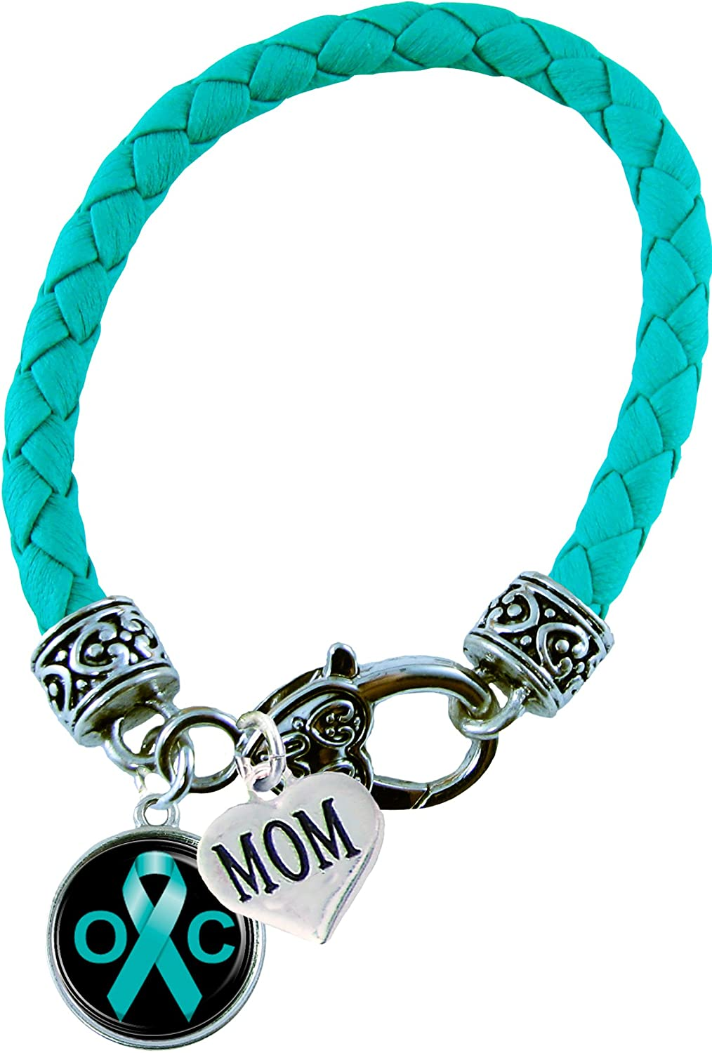Amazon Com Holly Road Custom Bracelet Ovarian Cancer Awareness Teal Leather Mom Or Dad Charm Only Jewelry Family Jewelry