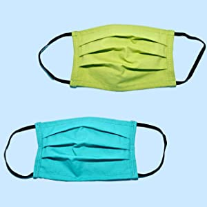 etee Organic Cotton Masks with Elastic Ear Loops, Pleated Double Layers with Filter Pocket, Tight Close Weave Stays Soft and Breathable, 3 Colors, 7.25