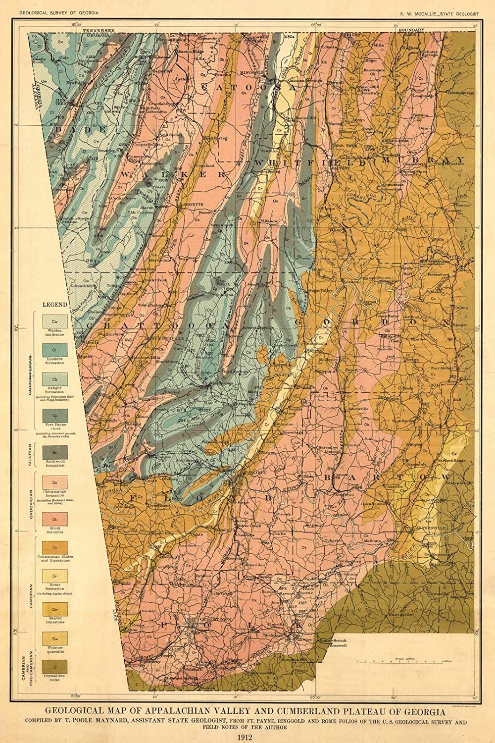 Amazon.com: Historic Map | 1912 Geological Map of Appalachian Valley ...