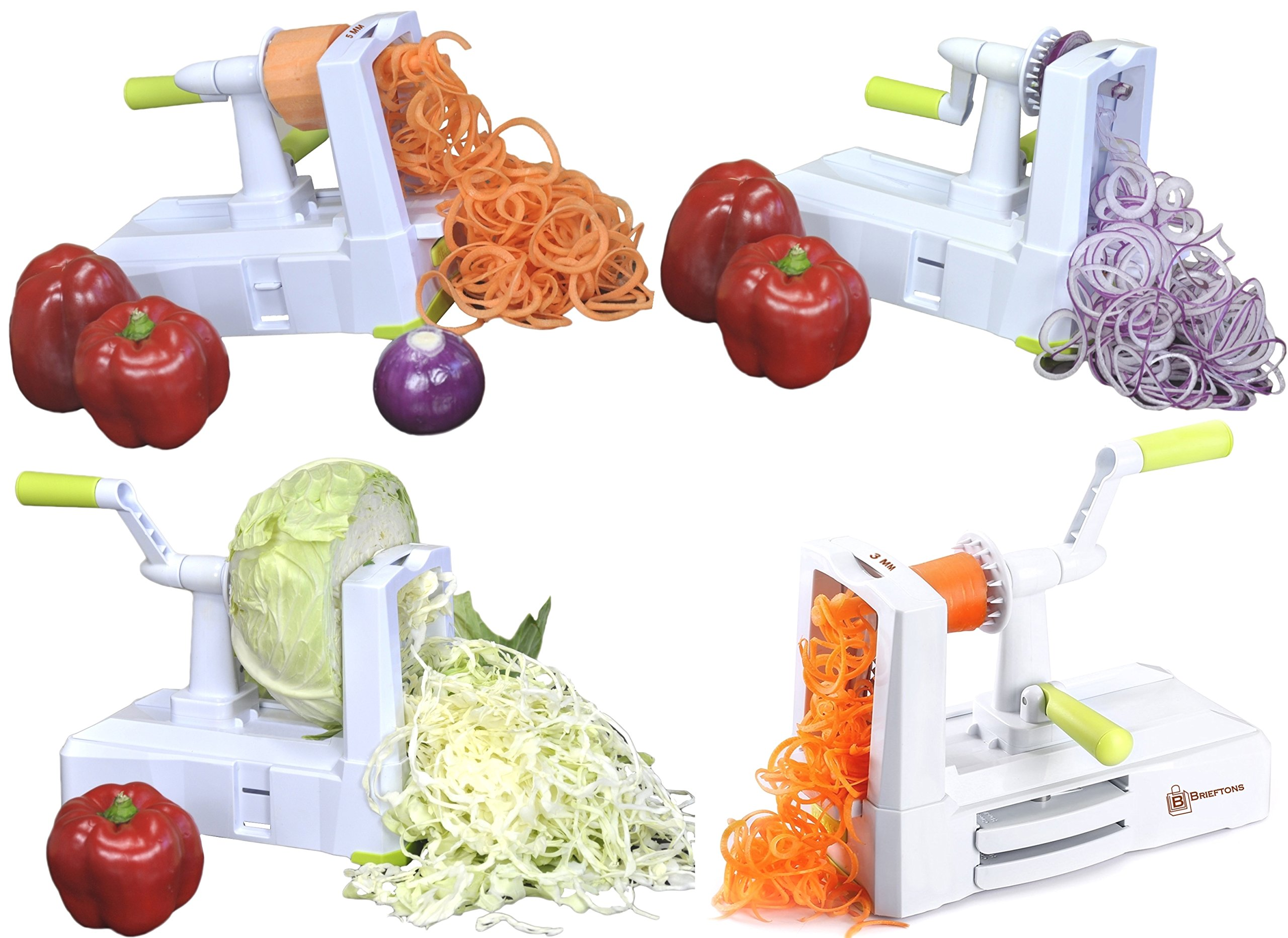 Brieftons 5-Blade Spiralizer (BR-5B-02): Strongest-and-Heaviest Duty Vegetable Spiral Slicer, Best Veggie Pasta Spaghetti Maker for Low Carb/Paleo/Gluten-Free, With Extra Blade Caddy & 4 Recipe Ebooks by Brieftons (Image #4)