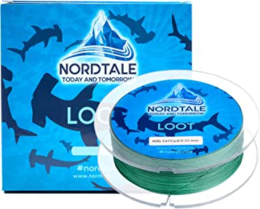 Nordtale Loot Braided Fishing Line 300yards 547yards - Improved Braided Fishing Lines - Abrasion Resistance - Zero Stretch - Thinner Diameter 6lb-80lb (Moss Green, 6lb 150-Yard 0.10 mm)