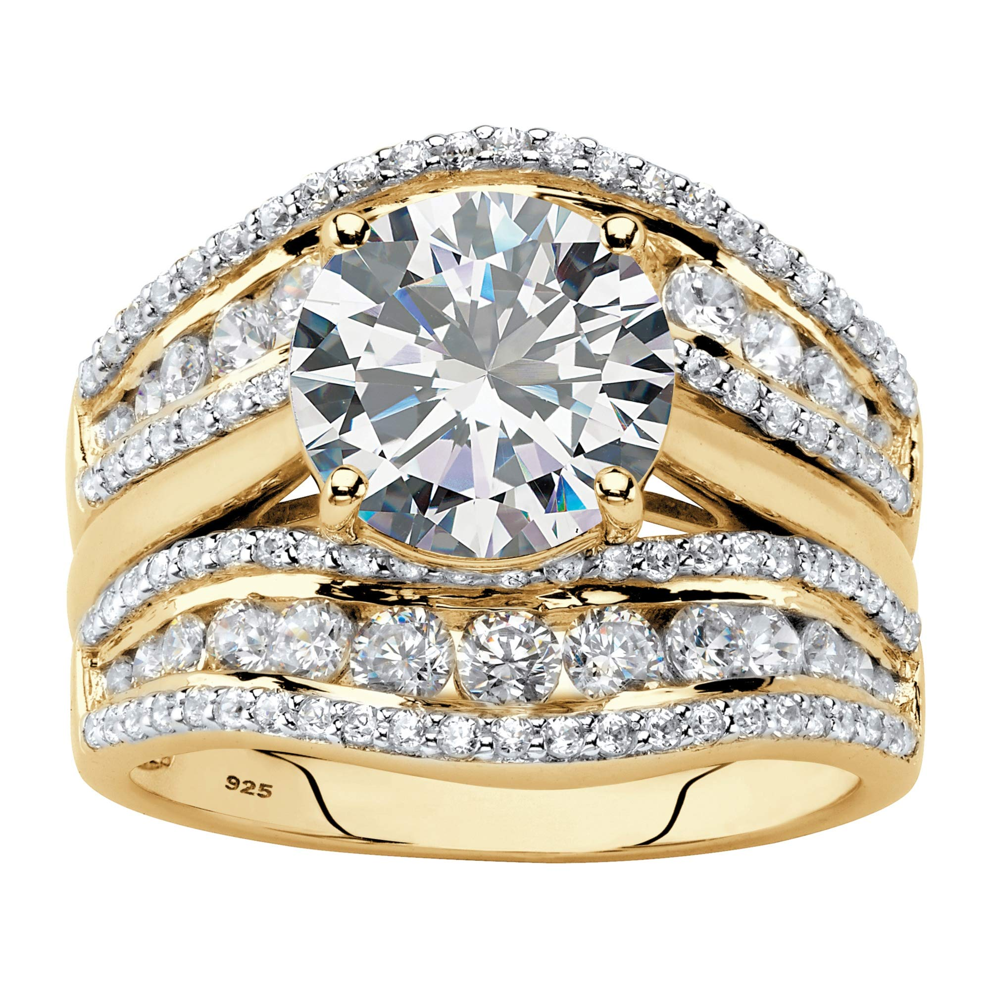 18K Yellow Gold over Sterling Silver 2 Piece Cubic Zirconia Multi Row Jacket Bridal Ring Set Size 10
