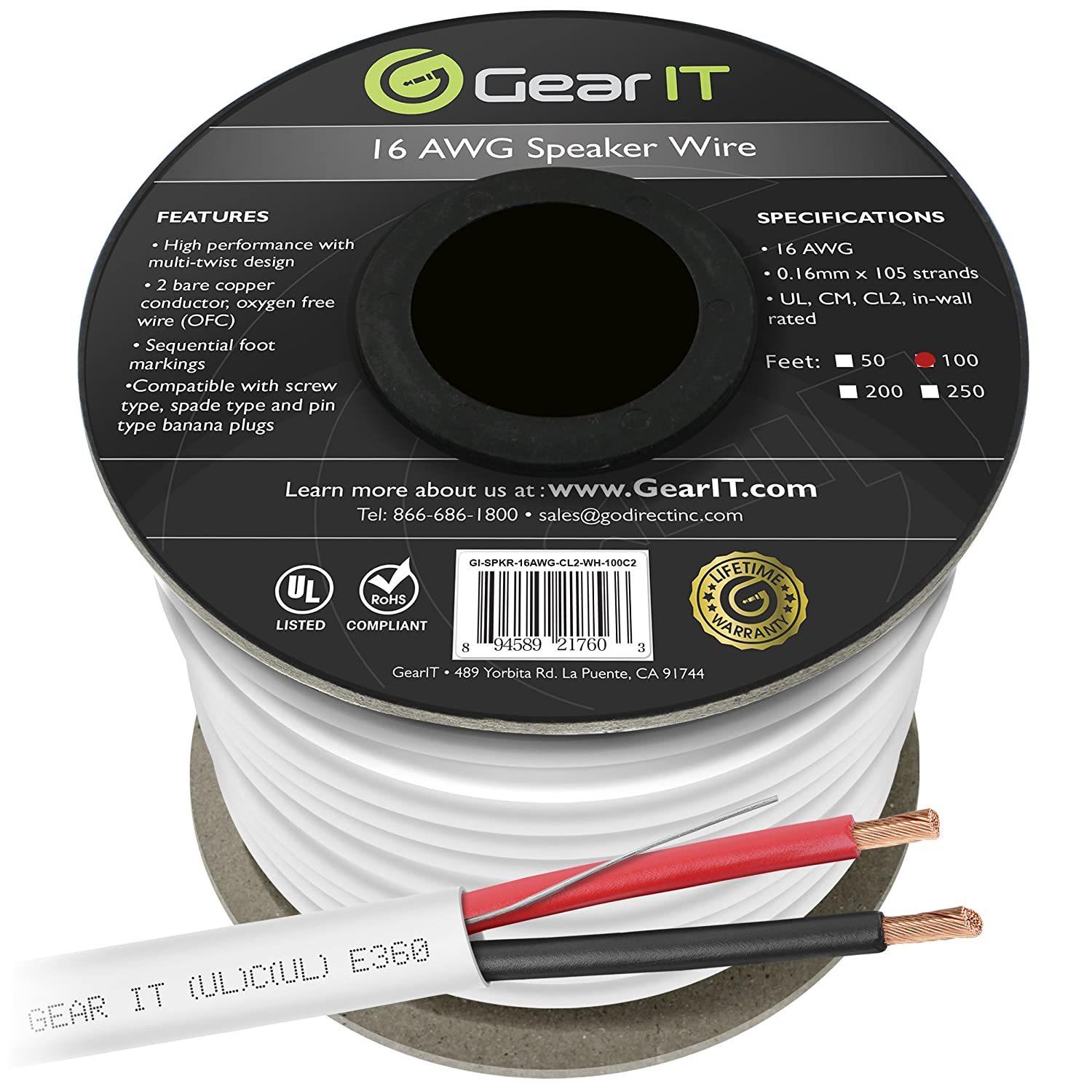 Amazon.com: 16 AWG CL2 OFC In Wall Speaker Wire, GearIT Pro Series ...