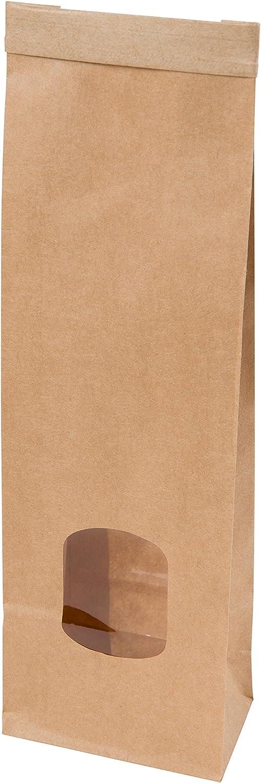 BIOZOYG Bolsas Papel Kraft reciclable Color marr/ón con Ventana I peque/ño Bolsas de Papel para almacenar I Bolsas con Cierre de Alambre Reutilizable I cart/ón Resistente sin blanquear 500 Piezas