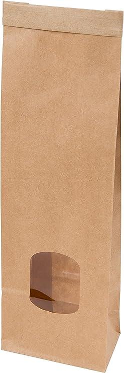 TheStriven 100pcs Bolsas de Papel con Ventana Peque/ña Bolsas de Papel de Papel Kraft con Base Bolsas de Papel Kraft biodegradables Bolsa de Comida de pie para Guardar o Llevar Fruta Dulces Galleta